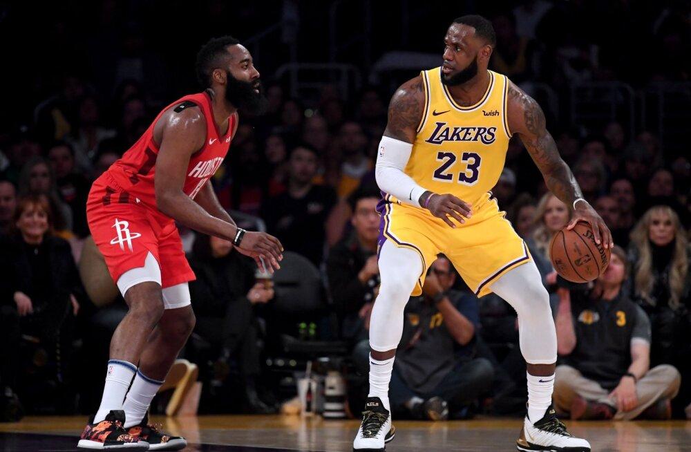 VIDEO | LeBron aitas Lakersil välja ronida 19-punktilisest kaotusseisust, Hardenilt 32. järjestikune 30-punkti mäng