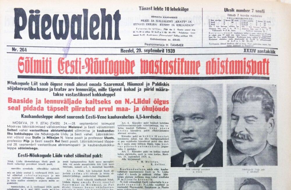 Eesti Päevalehe väljavõtted aastast 1939