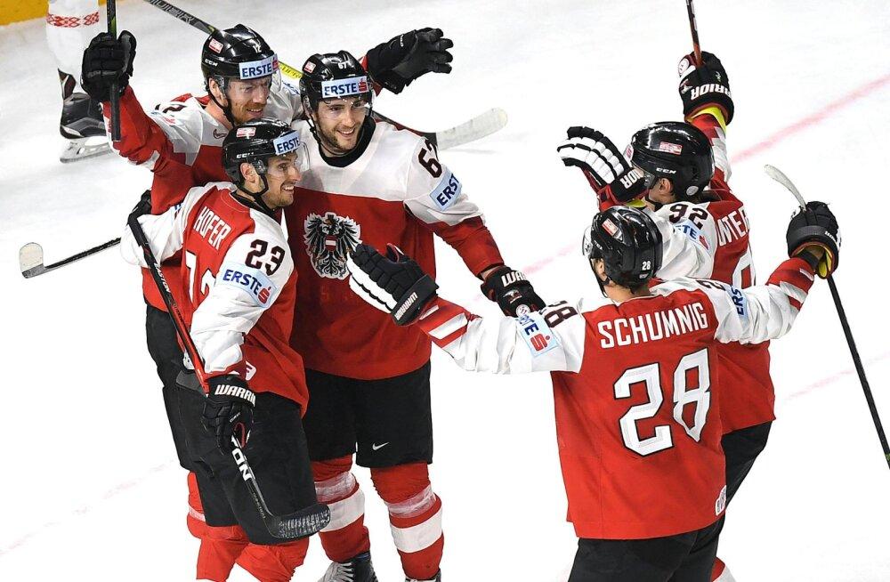 Jäähoki MM   Austria avas võiduarve, Valgevene langeb aste madalamale