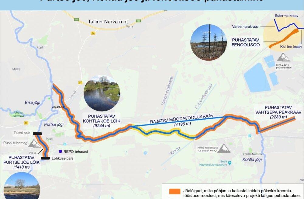 КАРТА: Реки Пуртсе и Кохтла будут очищены от остаточных загрязнений сланцевой промышленности