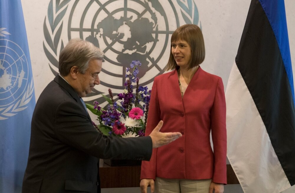 President Kersti Kaljulaid New Yorgis ÜRO peasekretäri Antonio Guterres'iga