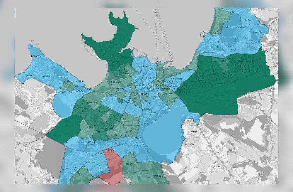 9ccdbe8383a DELFI INTERAKTIIVNE KAART: Vaata ja uuri, kuidas jaotusid Tallinnas  valimistel hääled sinu kodujaoskonnas