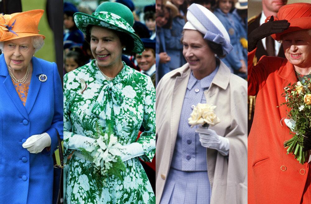HIIGELGALERII: Pärleid, kübaraid ja ohtralt pastelseid toone: Kuninganna Elizabeth II 91 kõige kirevamat kostüümi läbi aegade