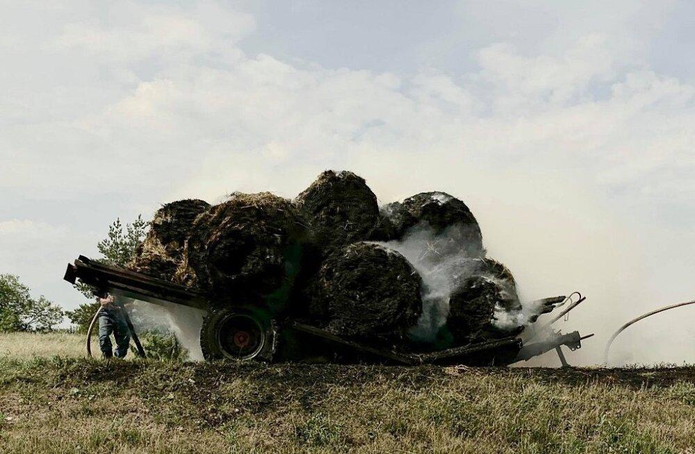 Järelhaagise hõõrduv porilaud süütas Saaremaal heinarullid