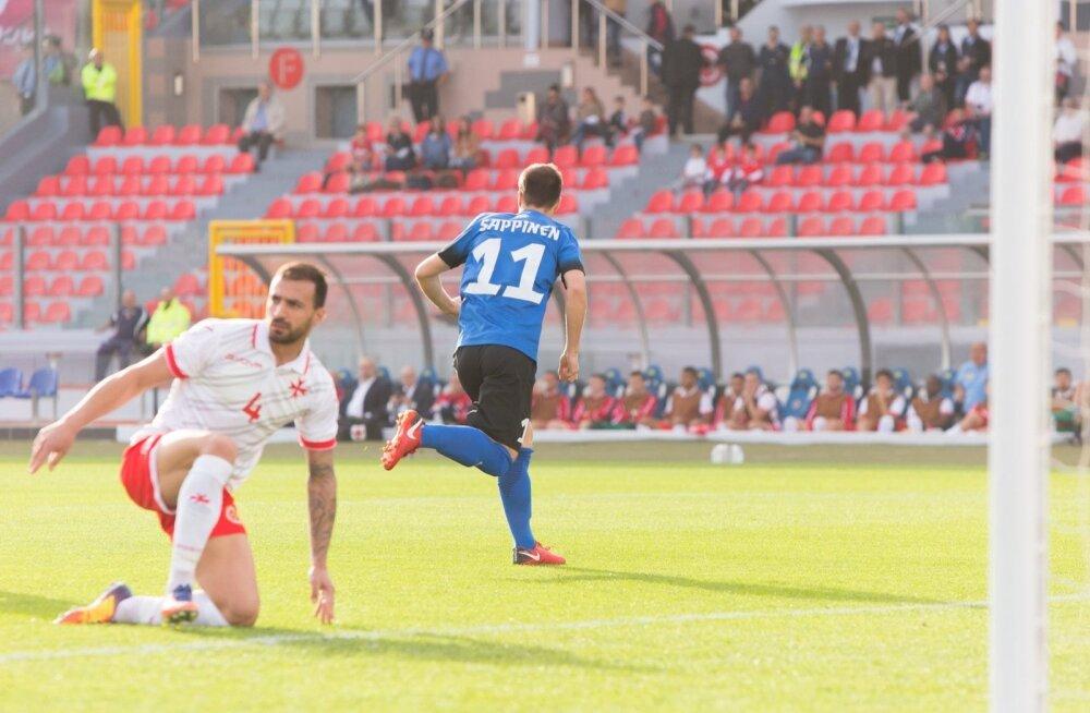Rauno Sappinen on juba avaminutil palli Malta väravavõrku saatnud. 21-aastasele ründajale oli see koondises teine tabamus.
