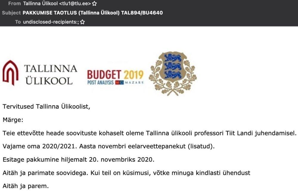 Uus petukiri liikvel – seekordne justkui Tallinna Ülikoolist