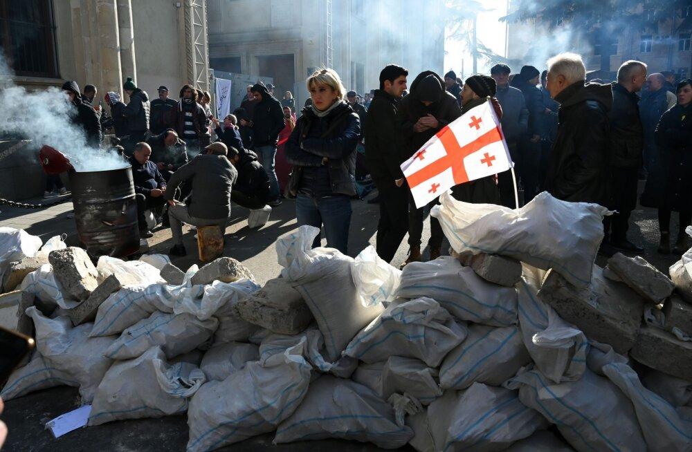 В Тбилиси протестующие заблокировали вход в парламент. Их разгоняет спецназ