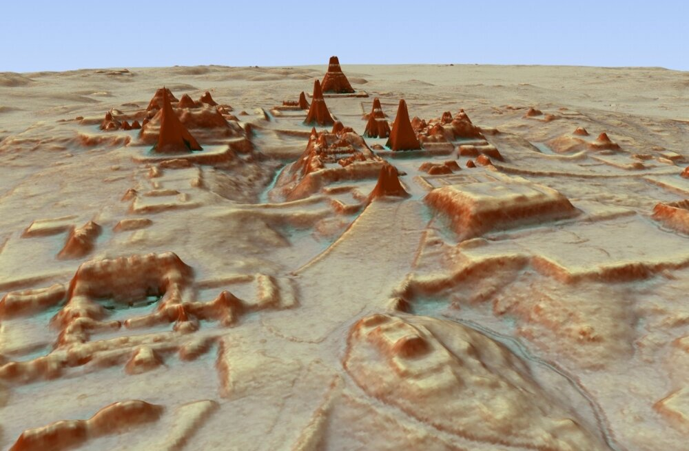3D-mudel Guatemalast LiDARi abiga leitud linnast.