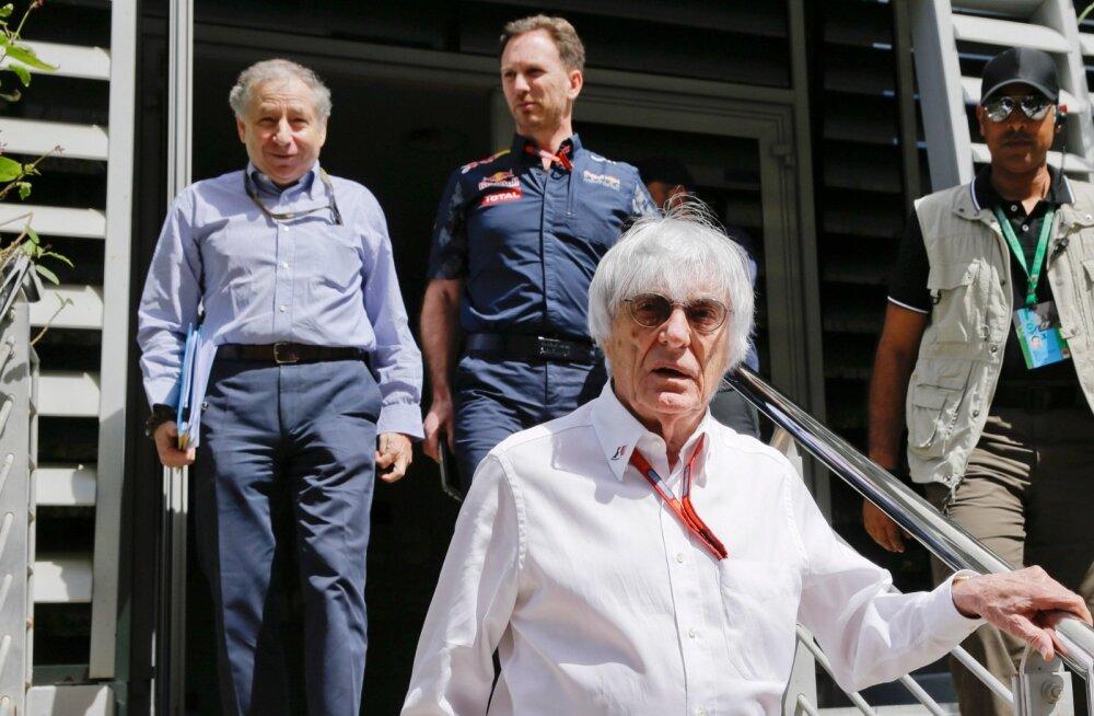 Bernie Ecclestone (esiplaanil), Jean Todt (vasakul) ja Christian Horner käisid eile Bahreini GP eelsel arupidamisel.
