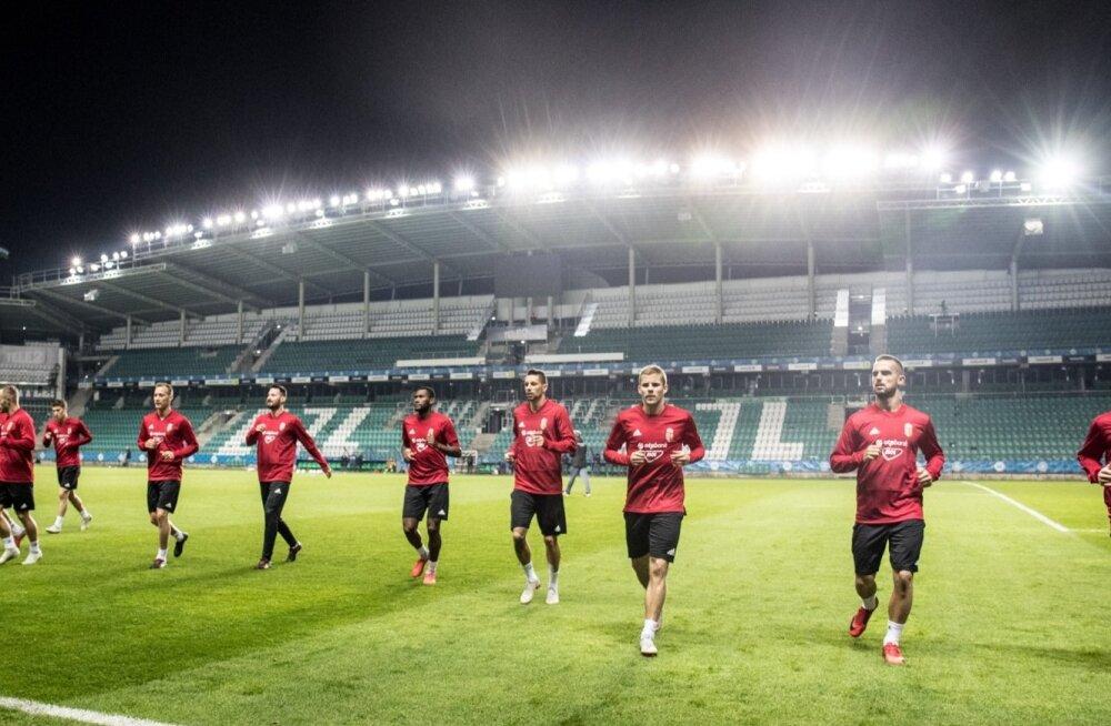 Ungari jalgpallikoondise mängueelne treening A. Le Coq Arenal