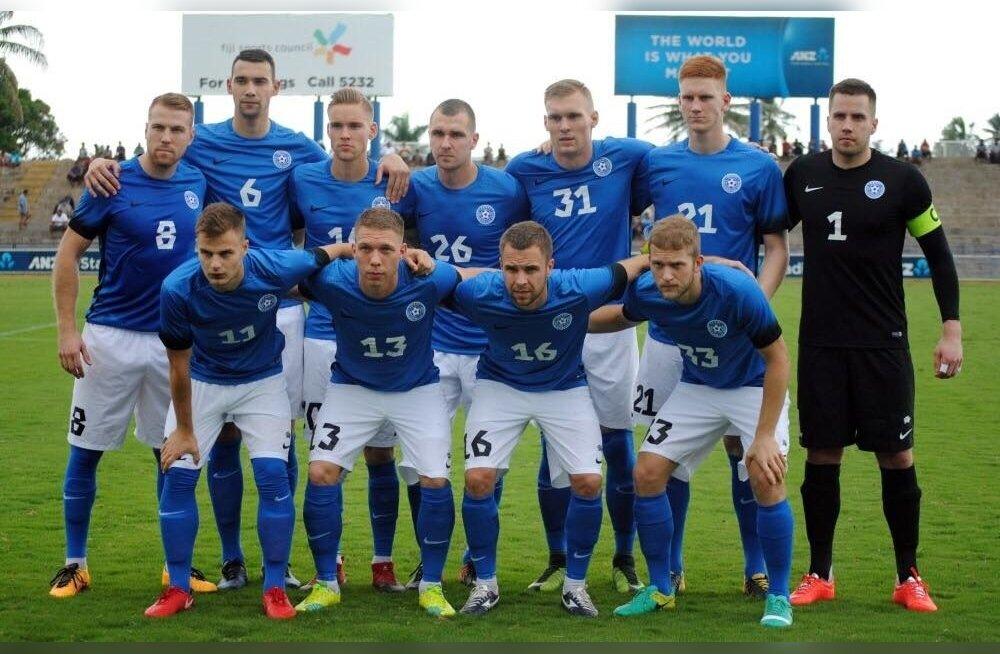 Eesti jalgpallikoondis kohtumises Fidžiga.