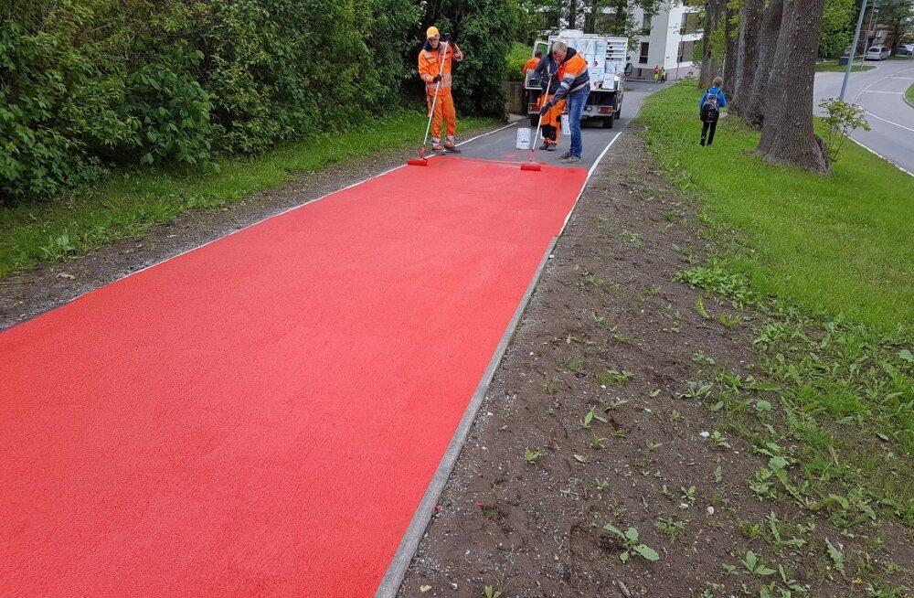ФОТО| Новая достопримечательность Виймси — красная пешеходная дорожка