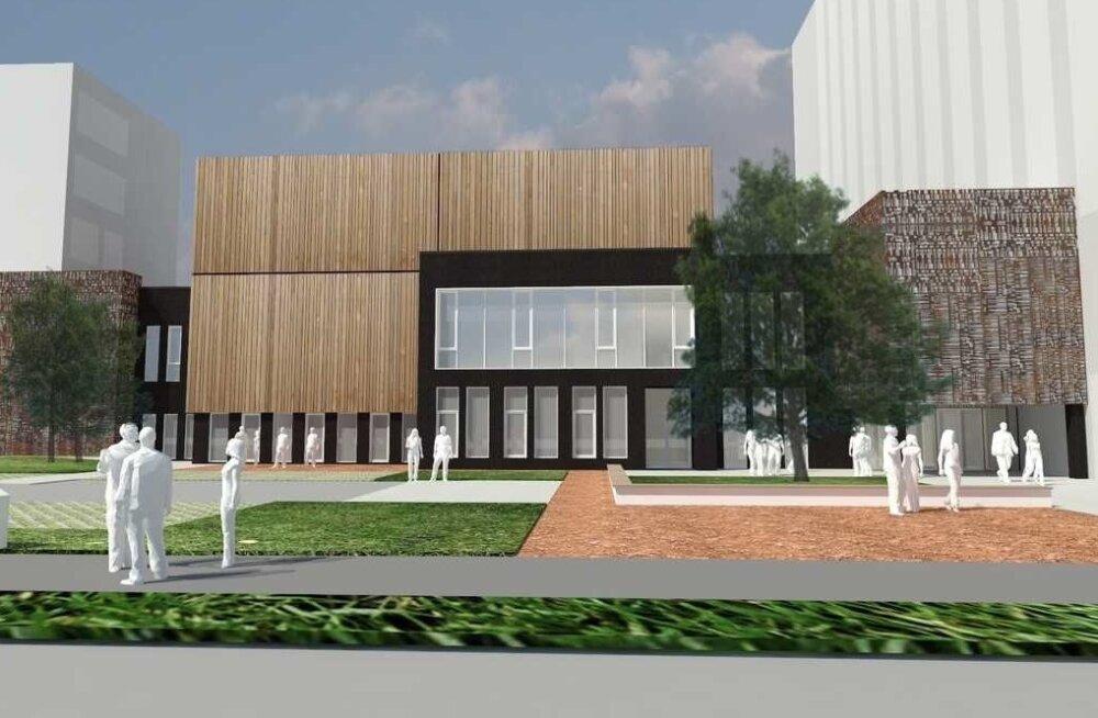 Projekti autorid on Indrek Tiigi, Mari Maidla ja nende kolleegid arhitektuuribüroost Allianss. Pildil kõrgemasse ossa plaanitav hotell peaks avatama 2019. aastal ning see oleks esimene lihtne ja kaasaegne äriklassi hotell Narvas.