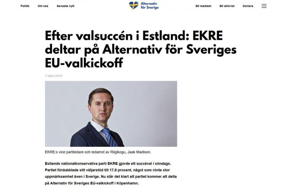 """Яак Мадисон участвует в предвыборном мероприятии ультраправой партии """"Альтернатива для Швеции"""""""