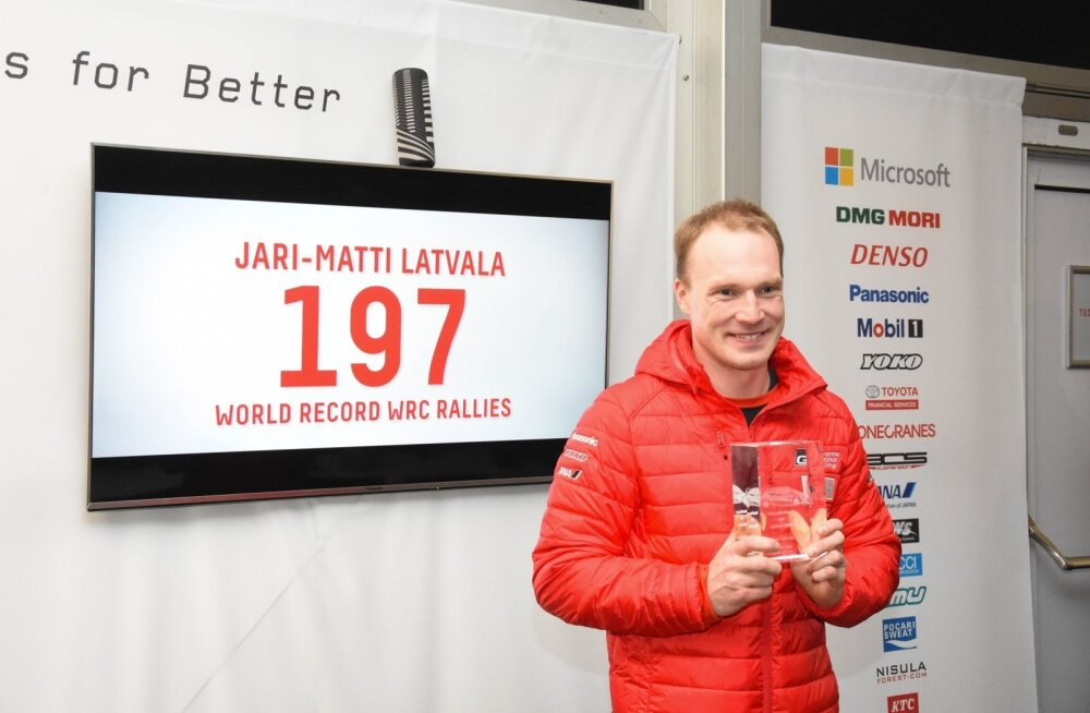 Toyota rallitiim tähistas Jari-Matti Latvala MM-rallidel osalemise rekordimeheks saamist