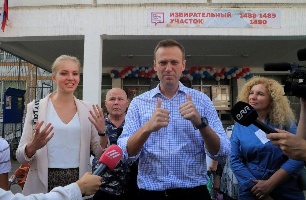 Aleksei Navalnõi täna Moskvas kohalikel valimistel.