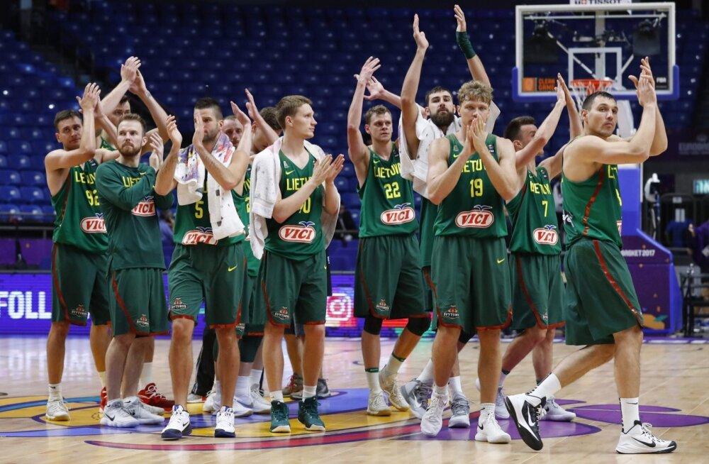 Leedu korvpallikoondis pärast võitu Ukraina üle