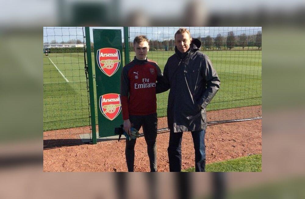 Karl Jakob Hein ja Mart Poom Londoni Arsenali treeningkompleksis