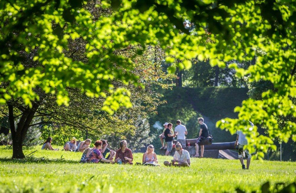 Pirogovi pargis istuvad inimesed