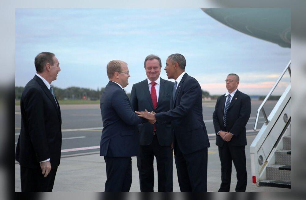 Urmas Paet Barack Obamat tervitamas