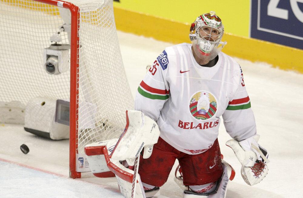 Valgevene väravavaht Kevin Lalande mängus Kanadaga