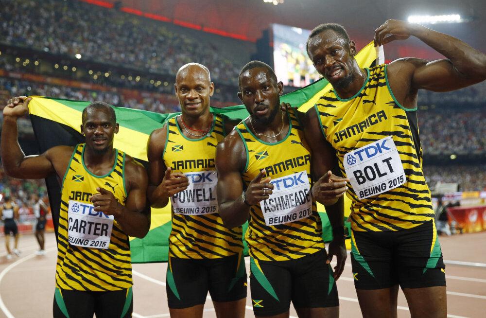 Nesta Carter (vasakul), Asafa Powell, Nickel Ashmeade ja Usain Bolt