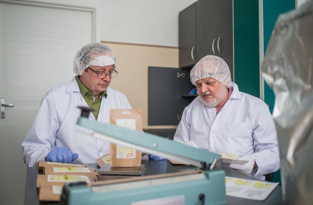 Lembit Lepasalu ja Väino Poikalainen valmistavad ternespiimapulbrit nii inimeste kui loomade tervise turgutamiseks.