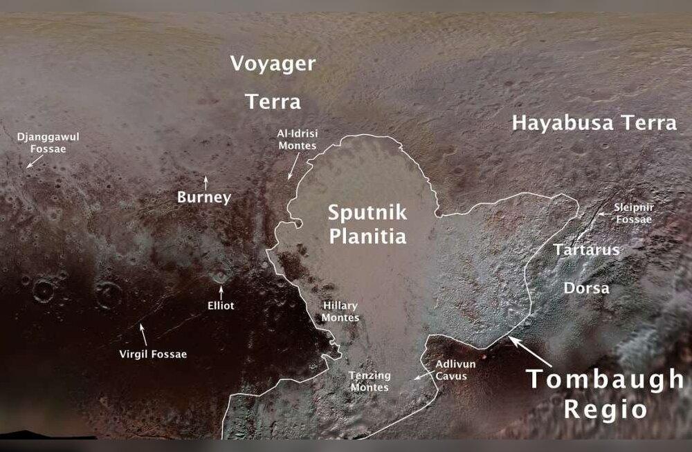 14 piirkonda Pluuto pinnal on saanud ametliku nime