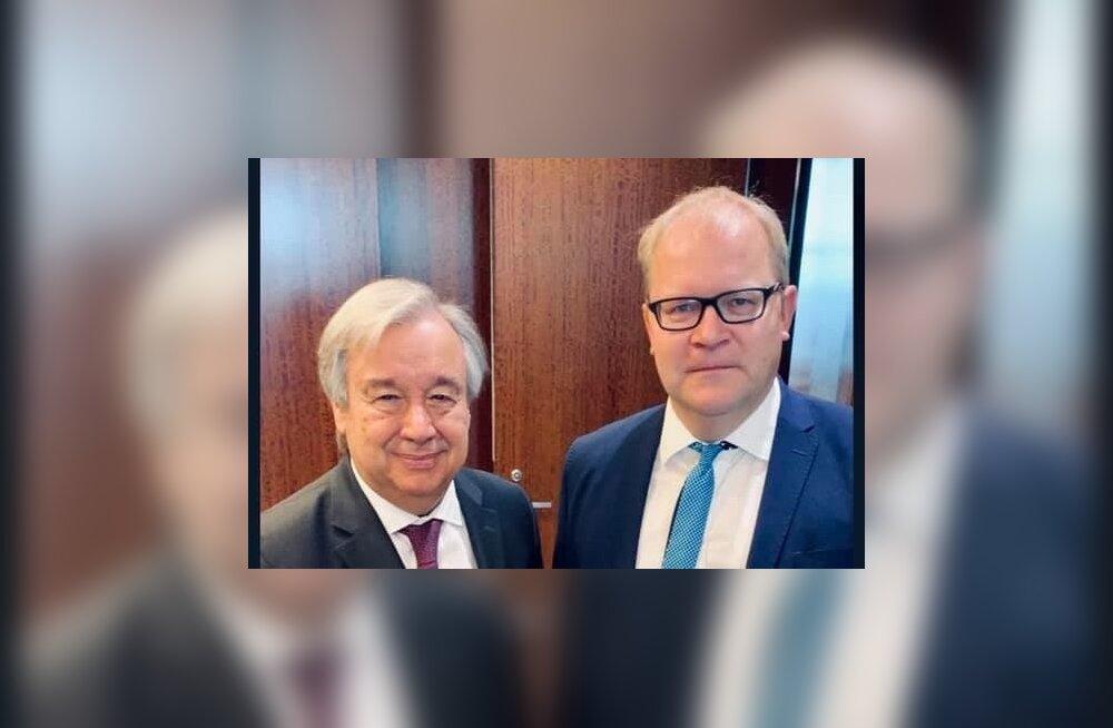 Euroopa Parlamendi liige Urmas Paet kohtus New Yorgis ÜRO peasekretäri Antonio Guterresiga