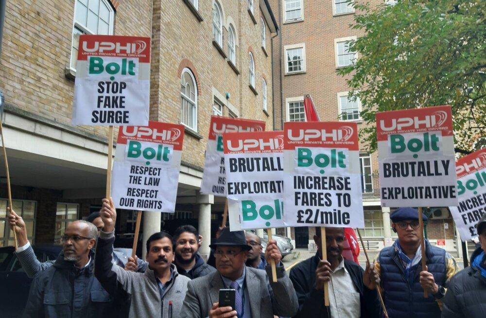 FOTO | Bolti juhid protestisid Londonis: ettevõte käitub töötajatega sama julmalt kui Uber