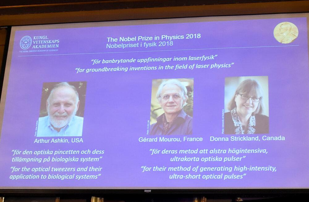 2018 NOBELI PREEMIAD   Füüsikapreemia said laserispetsialistid, preemia sai üle 55 aasta ka naine