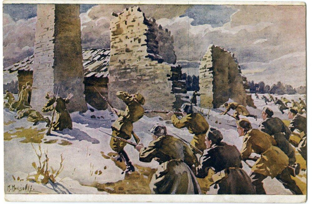 """Foto postkaardist, mis kujutab maali """"Kuperjanovi partisanid koos soomlastega ründavad Paju mõisa"""".  Kuperjanovi surma kohta on mitmeid legende, kuid Jaak Mäll, kes uuris kuue kuuliauke on kindel, et tegu oli punaste kuulipilduja tabamusega."""