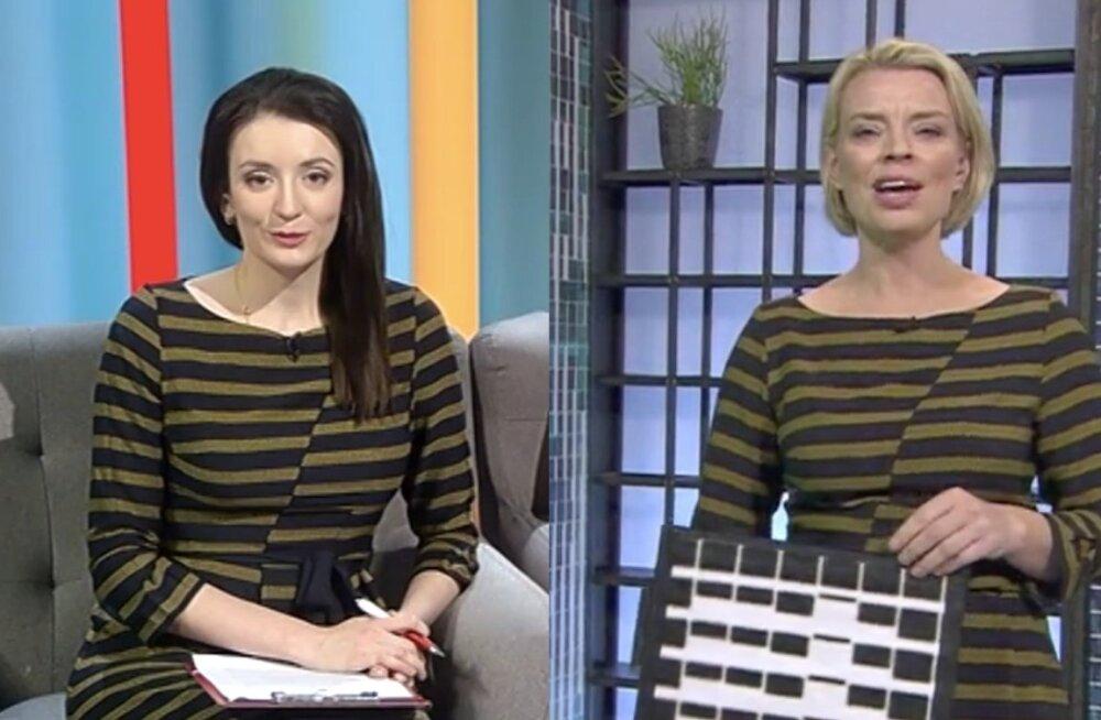 FOTOD | Kumb kandis paremini? Grete Lõbu ja Ingrid Teesalu sattusid teleekraanile ühesugustes kleitides