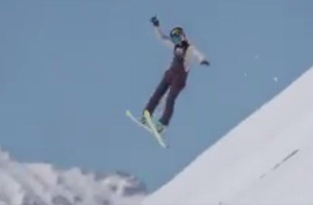 VIDEO: Kelly Sildaru konkurent murdis kahekordset saltot tehes käe