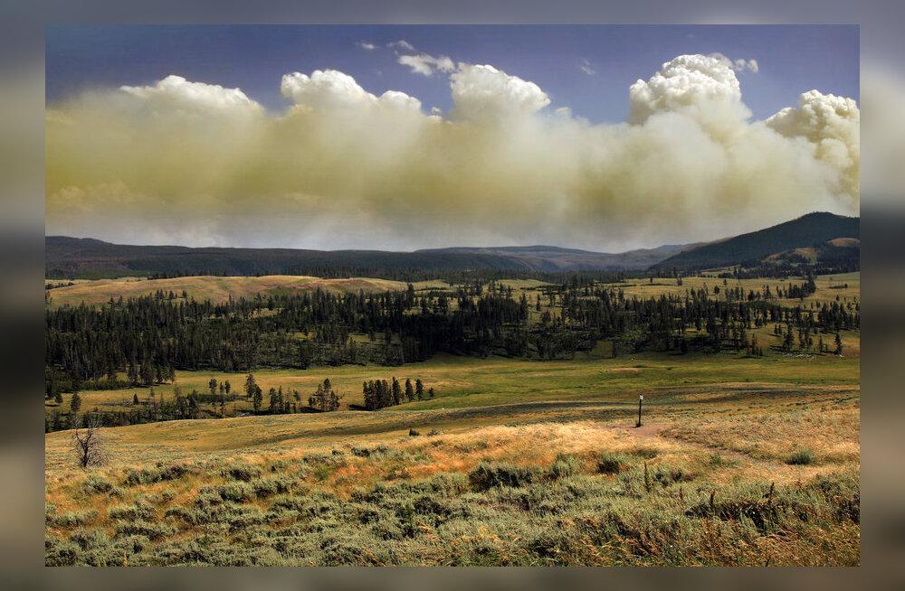 Metsapõlengu suits Yellowstone'i kohal.