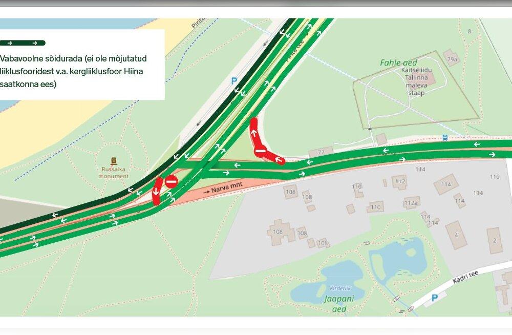Russalka juures muutub täna liikluskorraldus