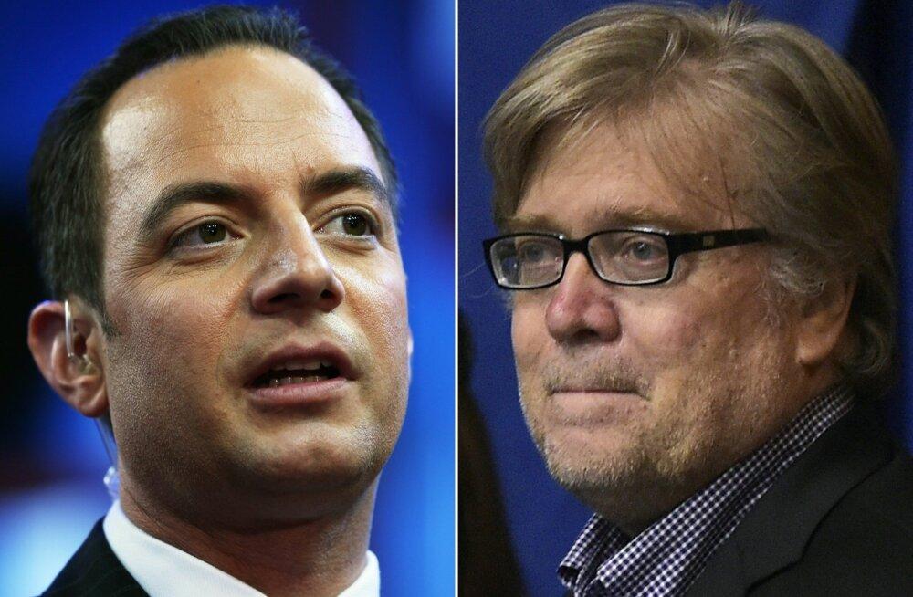 Trumpi administratsiooni ülemaks saab Reince Priebus (vasakul) ning presidendi nõunikuks ja peamiseks poliitstrateegiks StephenBannon.