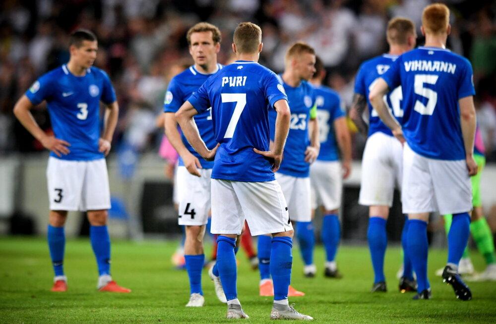 Eesti jalgpallurid pärast kaotust Saksamaale