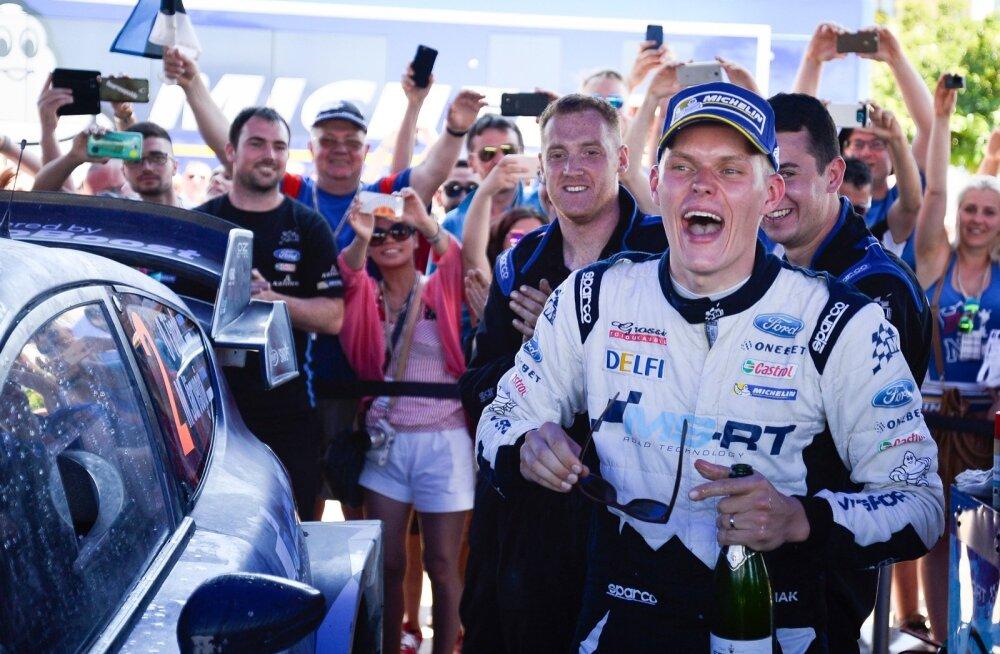 Ott Tänaku karjääri esimene tõeliselt suur hetk: ta on äsja Sardiinias võitnud oma esimese WRC-ralli