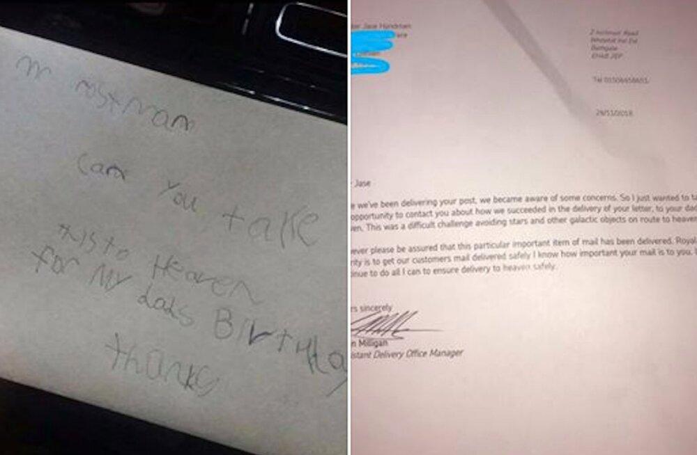 FOTO | Pisarakiskuja! 7-aastane poiss saatis kaardi oma surnud isale taevasse, postiljoni vastus oli uskumatult südamlik