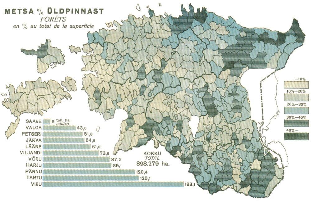 Sajanditagusega võrreldes on Eestis metsa poole rohkem, haritud maad sama palju, kuid rohumaid palju vähem