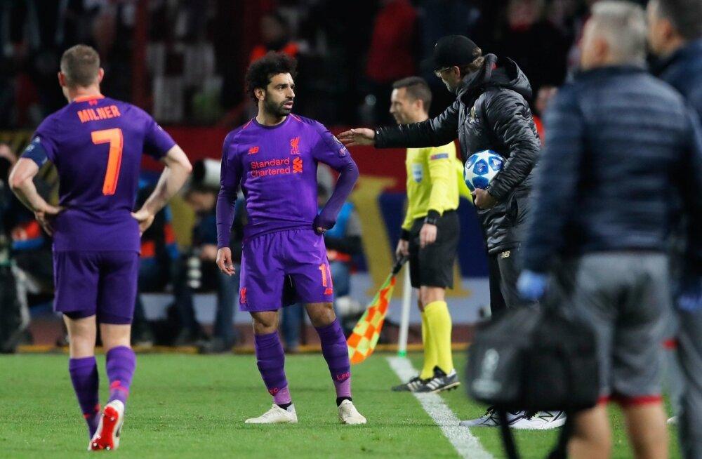 Mohamed Salah ja Jürgen Klopp pidid Serbiast pettunult lahkuma.