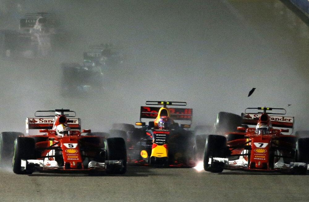 Vettel, Verstappen ja Räikkönen Singapuri etapi stardis