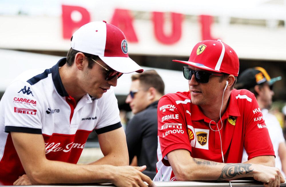 Charles Leclerc ja Kimi Räikkönen
