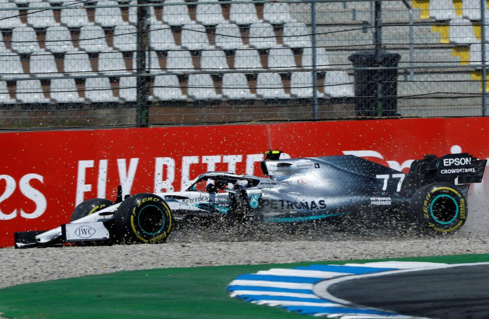 Bottas sõitis põllule, Ricciardo vilistas kummi, Vettel pani märgi maha