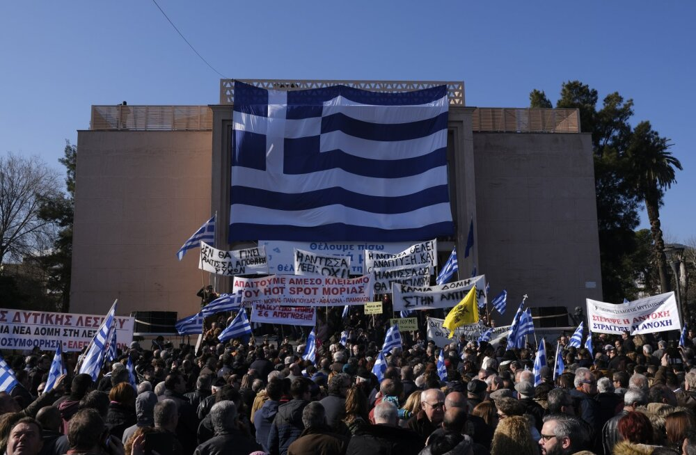 Kreeka saarte elanikud korraldasid protestipäeva suurte migrandilaagrite vastu