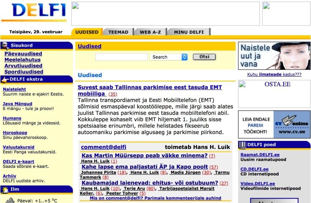 Mitte päris Delfi avapäevast, küll aga esimestest kuudest: 29. veebruaril 2000 teatas Delfi, et Tallinnas saab peagi mobiiltelefoniga parkimise eest tasuda.