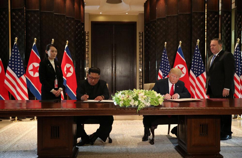 Trumpi ja Kimi ühisavaldus lubab Korea poolsaare tuumarelvadest vabastamist, detailid jäid ähmaseks