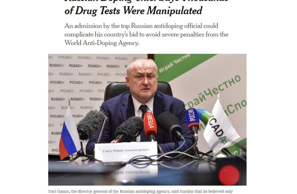 NYT: Глава РУСАДА подтвердил манипуляцию с допинг-пробами в России