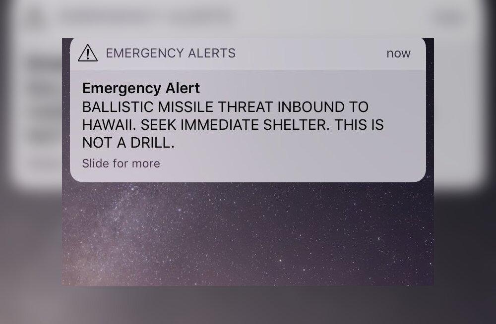 KUVATÕMMIS   Hawaii elanikud said raketihoiatuse. Pärast ehmatust selgus, et tegu on valehäirega